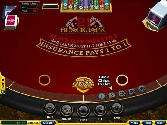 club player casino blackjack