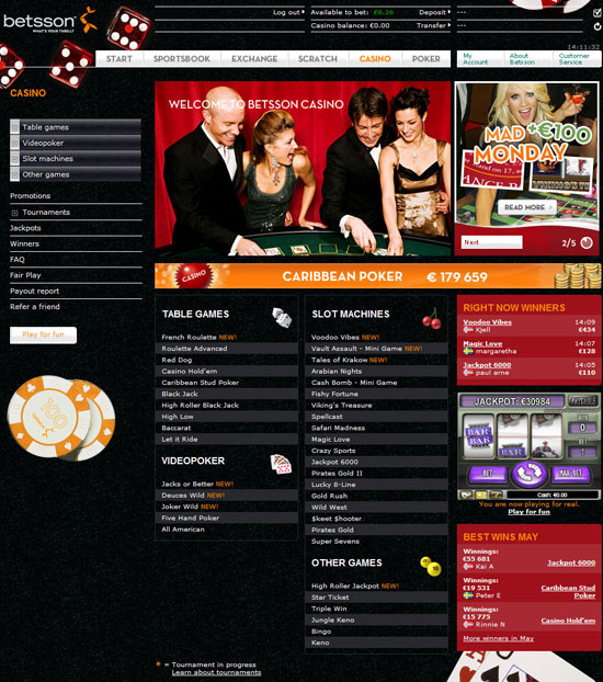 betsson casino lobby