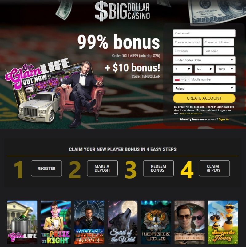 Big Dollar Casino 2019 | Review | No Deposit Bonus Codes